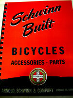 SCHWINN  1940'S BUILT 'S PARTS & ACCESSORIES FREE SALE TAG /PRICE LIST