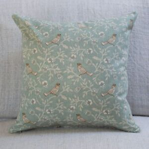 """Dainty Songbird Double Sided Cushion. 17x17"""" Square. Duck Egg Blue Birds Leaves"""