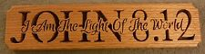 John 8:12 wooden religious plaque red oak