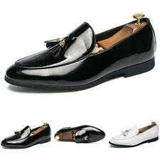 Men Fashion Leather Shoes Shiny Tassels Pointy Toe Oxfords Slip on Party 38-44 L