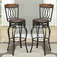 """Set of 2 Swivel Barstool 29""""H Bar Stools Chairs Curved Chair Back Wood Metal Leg"""