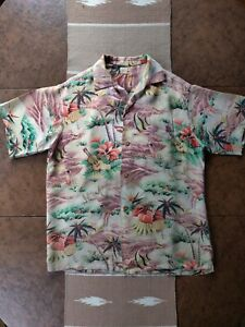 Men's True Vintage Waikiki Sports Rayon Hawaiian Shirt Size XL