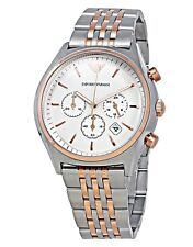 EMPORIO  ARMANI  - Men's Zeta White Dial Two Tone Chronograph Watch - AR1998