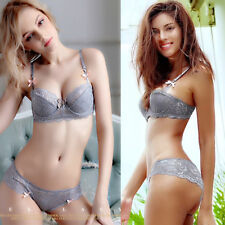 Sexy Floral  Lace Thin Padded Push Up Bra & Sheer Briefs Underwire Bra Sets