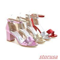 Womens Patent Leather Ankle Strap Pump Block Heels Sandals Shoes Plus US Size