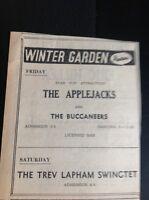 F9-1 Ephemera 1965 Advert Winter Gardens Cornwall The Applejacks Trev Lapham