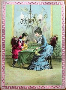 Girl & Doll Playing Game - 1880s French Toy Box Label / Print - Color Litho