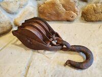 Vintage Industrial Steel Block & Tackle (3) steel wheel pulley w/ hook steampunk