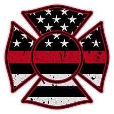 """Firefighter Maltese Cross Distressed Black Flag Red Line Reflective 2"""" Decal"""
