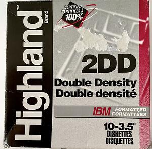 "Highland 2DD Double Density 3.5"" IBM Formatted 720KB Diskettes 10 Disc Pack 1994"