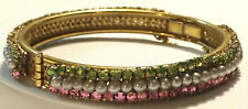 Exquisite Vintage Miriam Haskell Bangle/Bracelet~Pearls/Rhinestones/Gold Tone