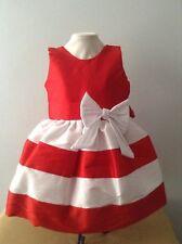Baby Girl Dress Size 12-18 Months  Red White Taffeta Wedding Holiday Headband