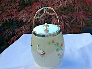 VICTORIAN AESTHETIC MOVEMENT OVERLAID GLASS AND SILVER BISCUIT BARREL CIRCA 1890