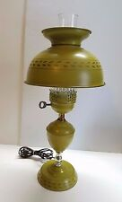 Vtg Tole Toleware Metal Hand Painted Table Bouillotte French Lamp Light Green