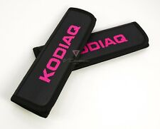 Skoda KODIAQ Car Seat Belt Shoulder Pads Covers Black Leather Embroidery Pink