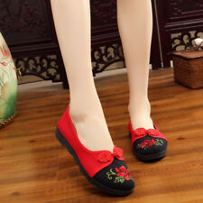 Women Us9 Flat Chinese Embroidered Floral Shoes Flat Ballet Cotton Loafer Shoes