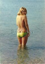 Original 50s-60s French Semi Nude Pinup PC- Blond- Topless- Bikini Bottom- Butt