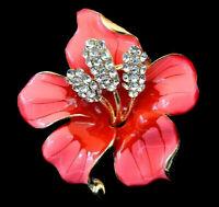 ORCHID Flower Lotus Pink RED Rhinestone Retro Vintage Necklace Pendant Brooch