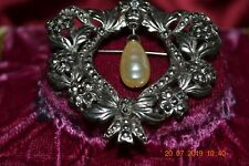 Brooch Silver Plate Unmarked Vintage Marcasite and Pearl