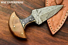 Custom Handmade Damascus Blade Full Tang Knife Hunting Knife with Leather sheath
