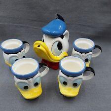 More details for donald duck tea set teapot & 4 mugs nephews disney japan ceramic