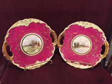 Two Hand Painted Antique Royal Vienna Handled Cabinet Plates Scenic Center