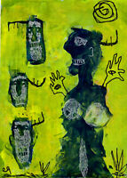 20112104 e9Art 5x7 Outsider Art Painting Brut Abstract Palette Knife Expressioni
