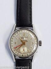 Mens VIntage Gruen Day Date Calendar Stainless Steel Wristwatch Leather Strap
