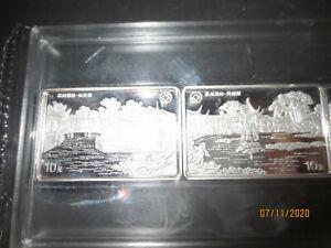 China  1999 , Prestigeausgabe , Gärten von Suzhou , 4 x 10 Yuan Silber