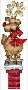 Christmas Deer on Chimney. 14CT Counted Cross Stitch Kit. Craft Brand New.