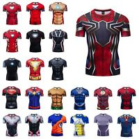 Mens Gym T-shirt Superman Superhero Spiderman Marvel Compression Armour Top Tees
