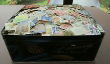 HUGE COLLECTION OF STAMPS IN OLD TIN - ALL WORLD - ALL PERIODS- EST 20,000+