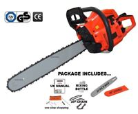 "HEAVY DUTY 52CC 20"" PETROL CHAINSAW SAW & CHAIN & COVER 1.9KW TOOL KIT"