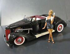 1936 FORD HOT ROD BLACK CUSTOM V8 DELUXE CABRIOLET DANBURY MINT 1/24 DIECAST NIB