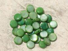 20pc - Perles Nacre Palets 10mm Vert   4558550017277