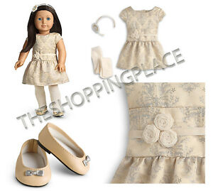 """New American Girl 18"""" Doll Outfit Brocade Gold Party Holiday Dress Headband Shoe"""