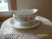 Florella By Lexington China Spring Floral Bouquet Gravy Boat Attached Underplate