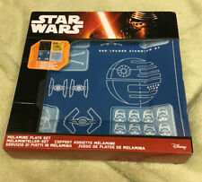 Star Wars Official Melamine Blueprint Plate Set Of 4 Square Blue Black Yellow
