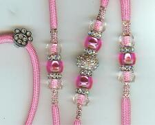 NEW! CUSTOM DOG BEADED SHOW LEAD LEASH - SNAPLEAD/PINK