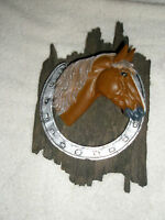 Vintage Resin Horse Head Plaque Horseshoe 3D Made in China