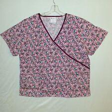 Allheart Women Mock Wrap Valentine Pink Hearts Print Scrub Top Size 2XL