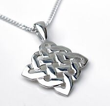 Sterling Silver Celtic Knot Design Pendant Plus Sterling Silver Curb Necklace