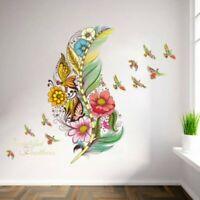 Deko Wandtattoo Wandbild Wandsticker Vögel Blumen Bunt Frühling Mädchen