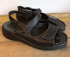 WOLKY Black Leather Slingback Buckle Sandals EU size 39 US 8 Walking Comfort