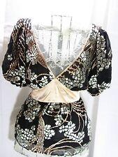 Arden B Shirt Silk Blend Floral Balloon Sleeve Baby Doll Top Medium M New