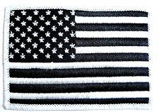 USA STARS & STRIPES CLOTH BADGE iron on US patch jacket America flag black white
