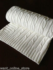 Rochdale Boutique 100% Pure Cotton Cable Vintage Knit Baby Blanket - Shawl White