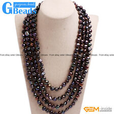 """Handmade 8-9mm Cultured Freshwater Pearl Super Long Necklace For Women 80"""" GB"""