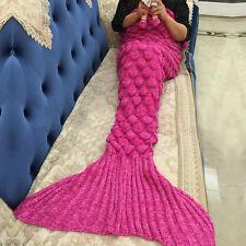 140*70cm Kids Fish Scale Mermaid Tail Blanket Handmade Knit Crochet Quilt Rug