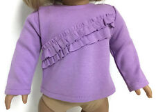 """Long Sleeved Lavender with Ruffles Knit Top for 18"""" American Girl Doll Clothes"""